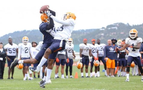 Wide receiver Tre'shon Wolf and defensive back Justin Rogers fight for possession of the ball.