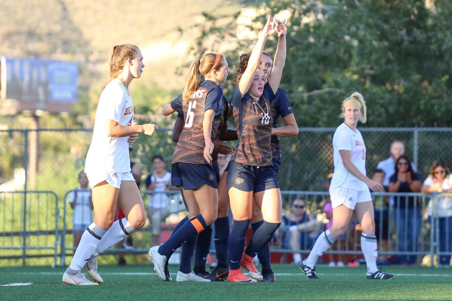 UTEP celebrates as they score the first goal of the day against Idaho State.