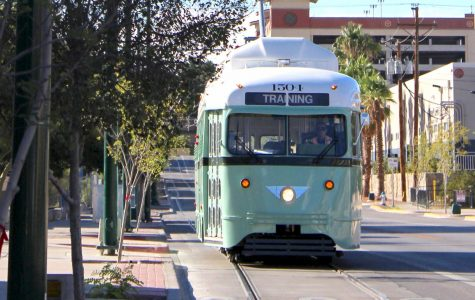 The streetcar goes through Oregon Street on Friday, August 24, during one of its safety tests.