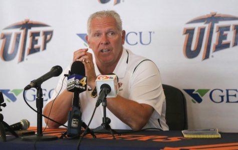 UTEP head coach Dana Dimel addresses the press before the Miners week two match up against UNLV.