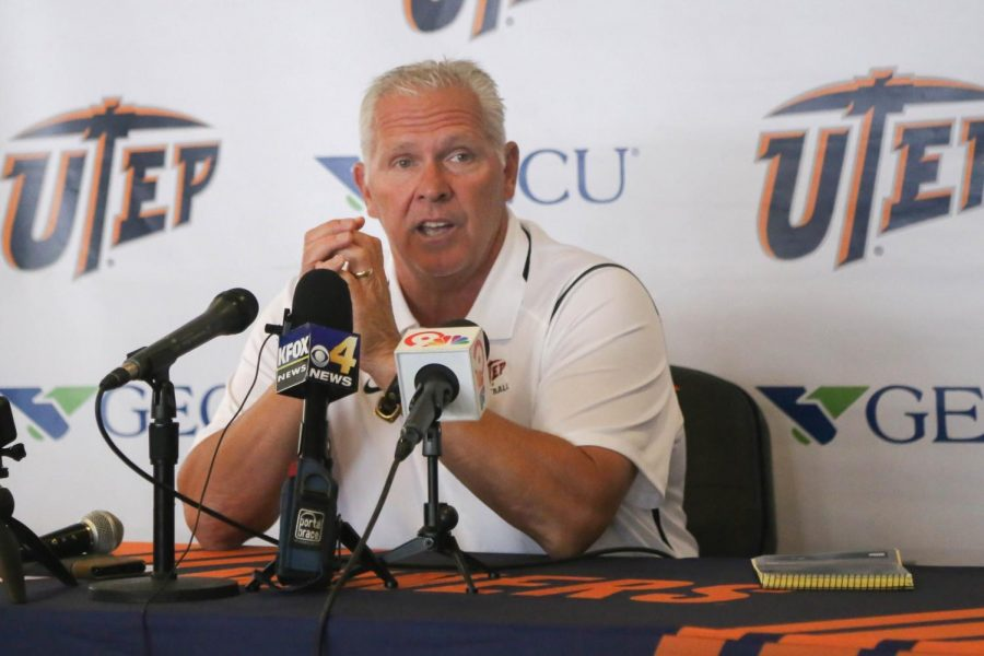UTEP+head+coach+Dana+Dimel+addresses+the+press+before+the+Miners+week+two+match+up+against+UNLV.+