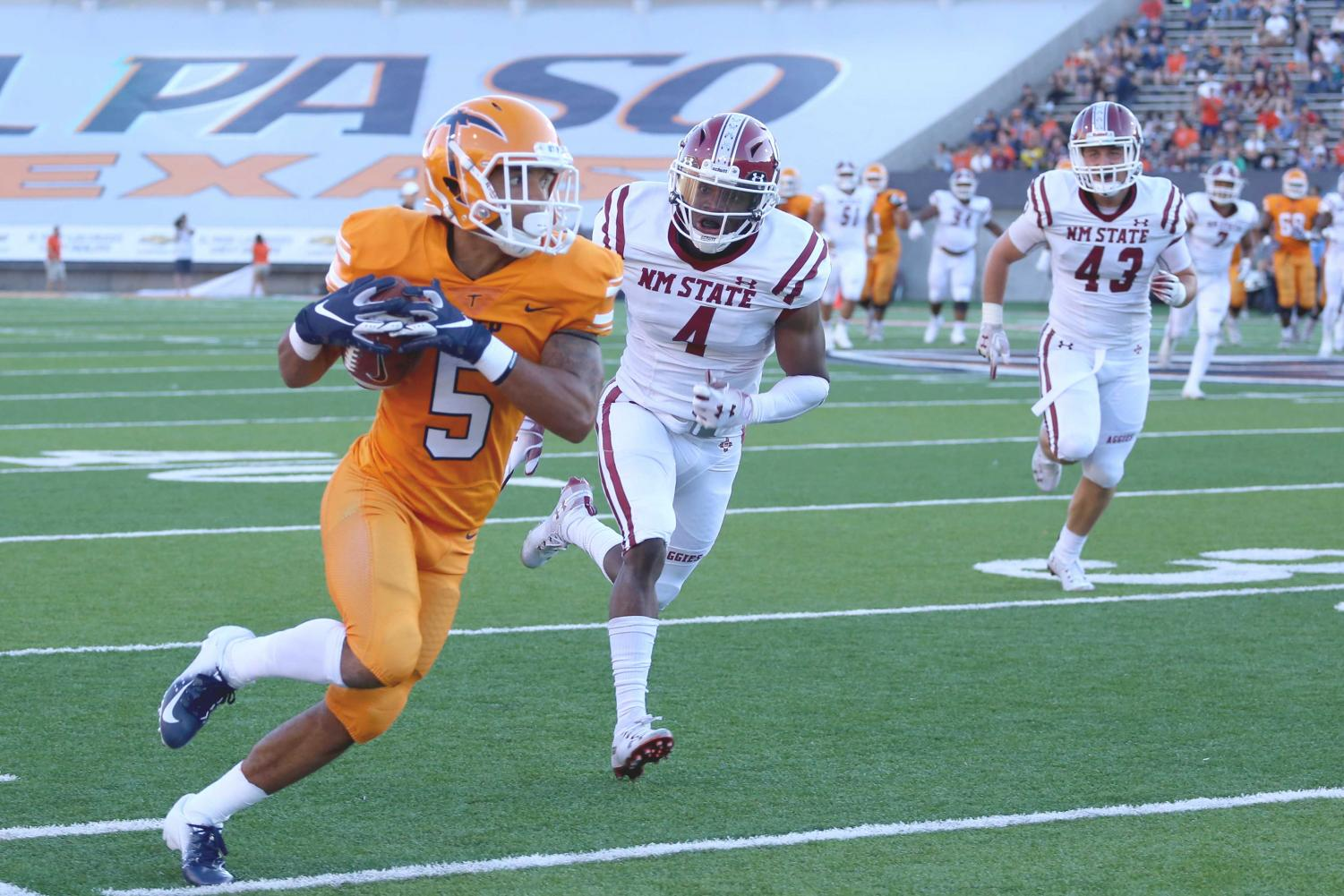 Junior+wide+receiver+Keynan+Foster+had+two+receptions+for+56+yards+as+UTEP+is+defeated+by+NMSU.+