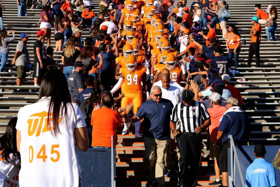 UTEP football head coach Dana Dimel walks his team out of the MIne Shaft before they First Light Credit Union Battle of I-10 against NMSU, on Saturday Sept. 22nd.