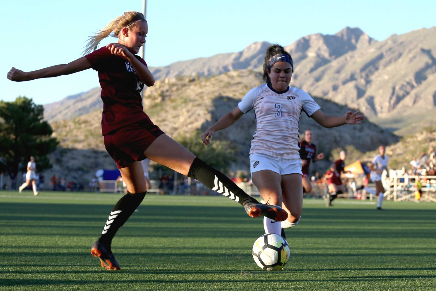 NMSU+Sophomore+midfielder+attempst+to+take+the+ball+from+Emma+Smith+sophomore+forward+Jackie+Soto.