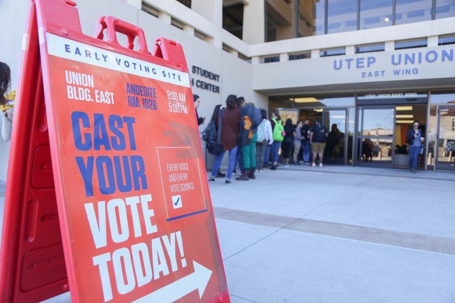 Hundreds stand in line for the first day of early voting at UTEP at Union East on Thursday, Oct. 25.