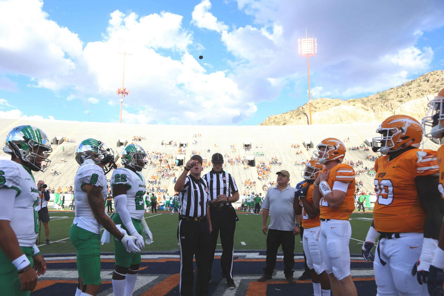 Captains+meet+at+midfield+for+the+coin+flip+before+NorthTexas+takes+on+UTEP+on+Saturday%2C+Oct.+6+at+the+Sunbowl+Stadium.+