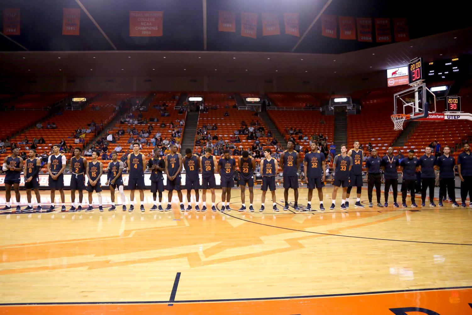 The+2018-2019+UTEP+men%27s+basketball+team+is+introduced+at+the+basketball+pre+season+showcase+at+the+Don+Haskins+Center+on+Wednesday%2C+Oct.+10.++