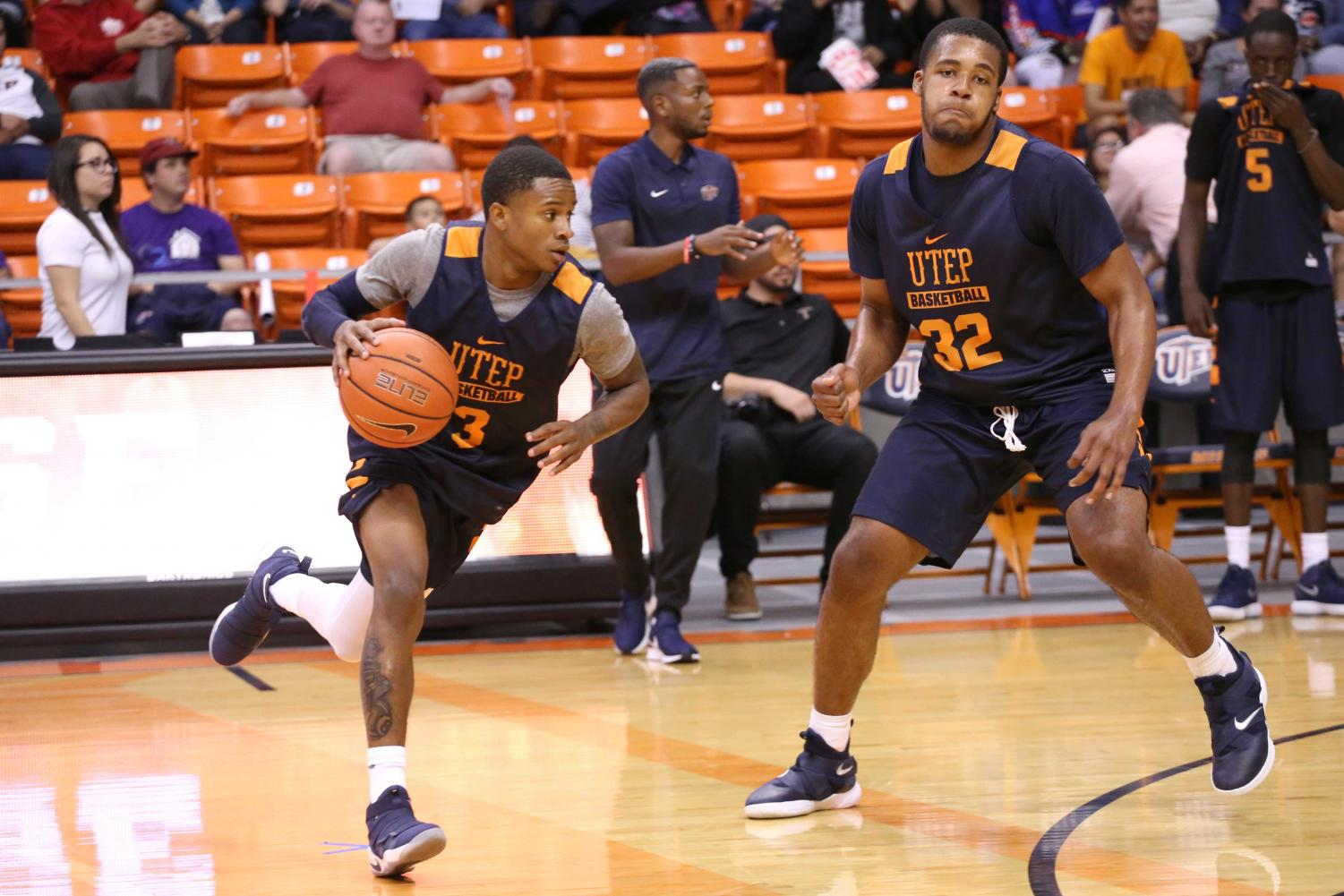Sophomore+guard+Evan+Gilyard+runs+pas+the+defender+during+the+basketball+pre+season+showcase+at+the+Don+Haskins+Center+on+Wednesday%2C+Oct.+10.+
