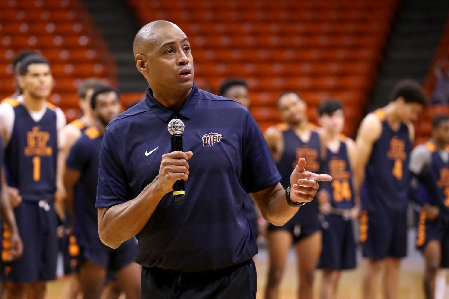 Men%27s+basketball+Head+Coach+Rodney+Terry+talks+to+the+crowd+after+the+basketball+pre+season+showcase+at+the+Don+Haskins+Center+on+Wednesday%2C+Oct.+10.+