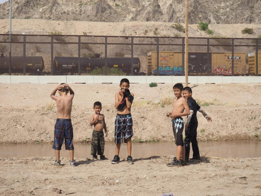 Group portrait of Mexican children swimming in the Rio Grande River on a Tuesday afternoon. Tuesday, April 11, 2017.