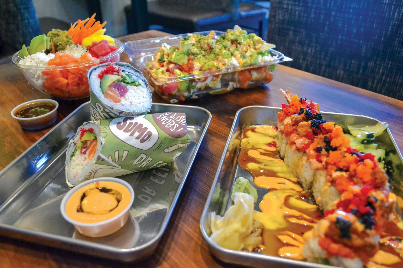 Sushi Freak's menu items include Poke bowls, Poke nachos, Gunshow sushi burrito, and Rockstar roll.