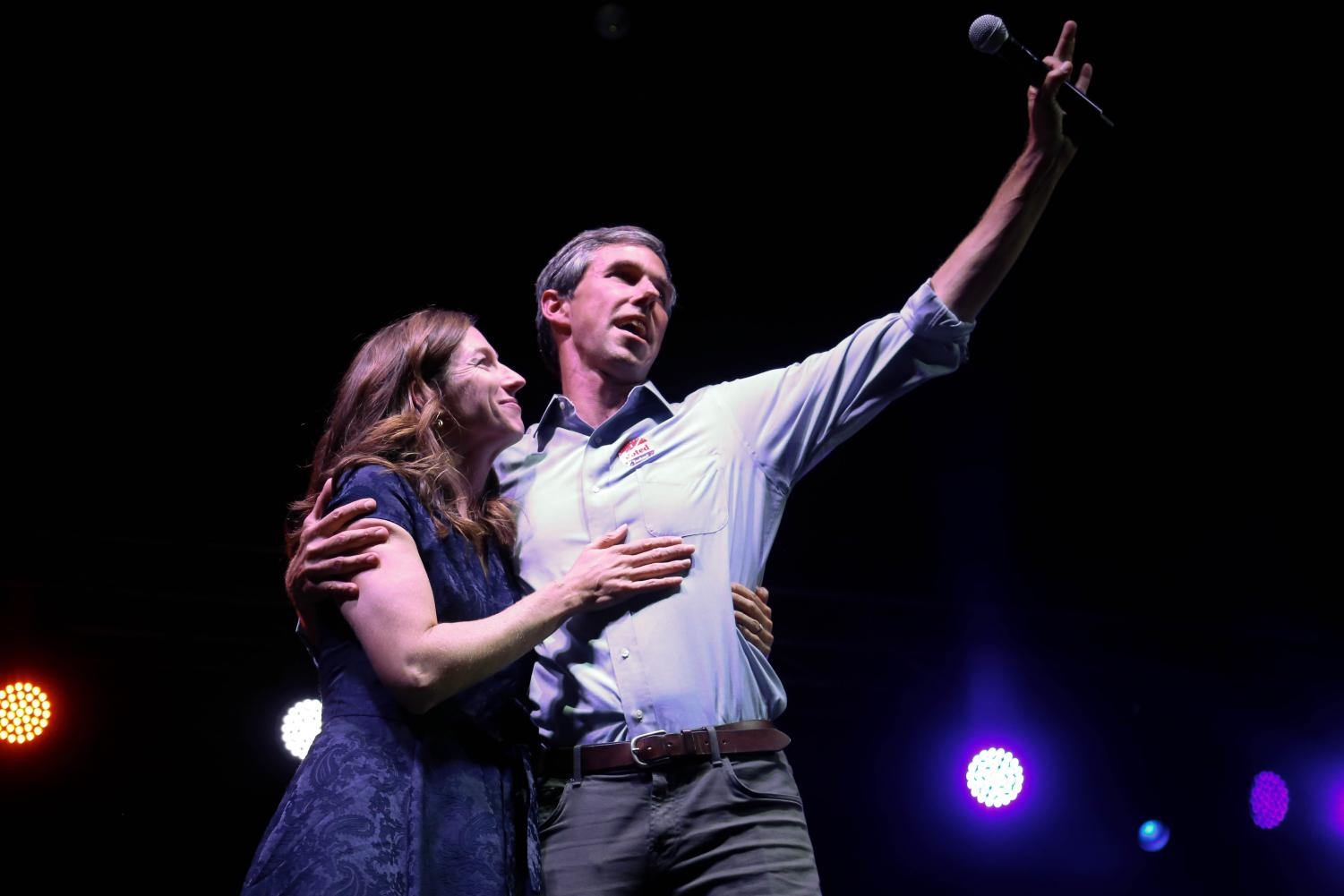 Democratic challenger O'Rourke and his wife Amy O'Rourke say their final goodbye after his watch party on Tuesday, Nov. 6 at the Southwest University Park.