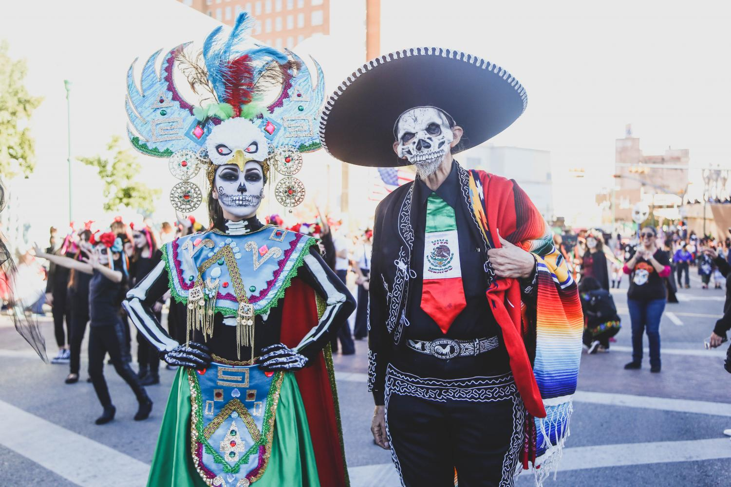 Attendees+dress+in+traditional+Mexican+clothing+and+paint+their+face+as+catrinas+to+celebrate+the+Day+of+the+Dead+on+Saturday%2C+Nov.+3+at+Down+Town+El+Paso.+