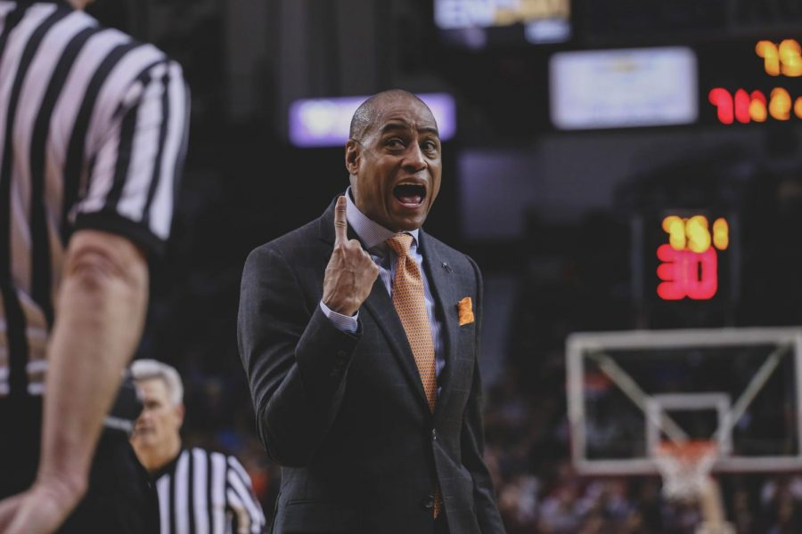 Head Coach Rodney Terry displayed his frustration as the Miners lost to NMSU in the Battle of I-10.