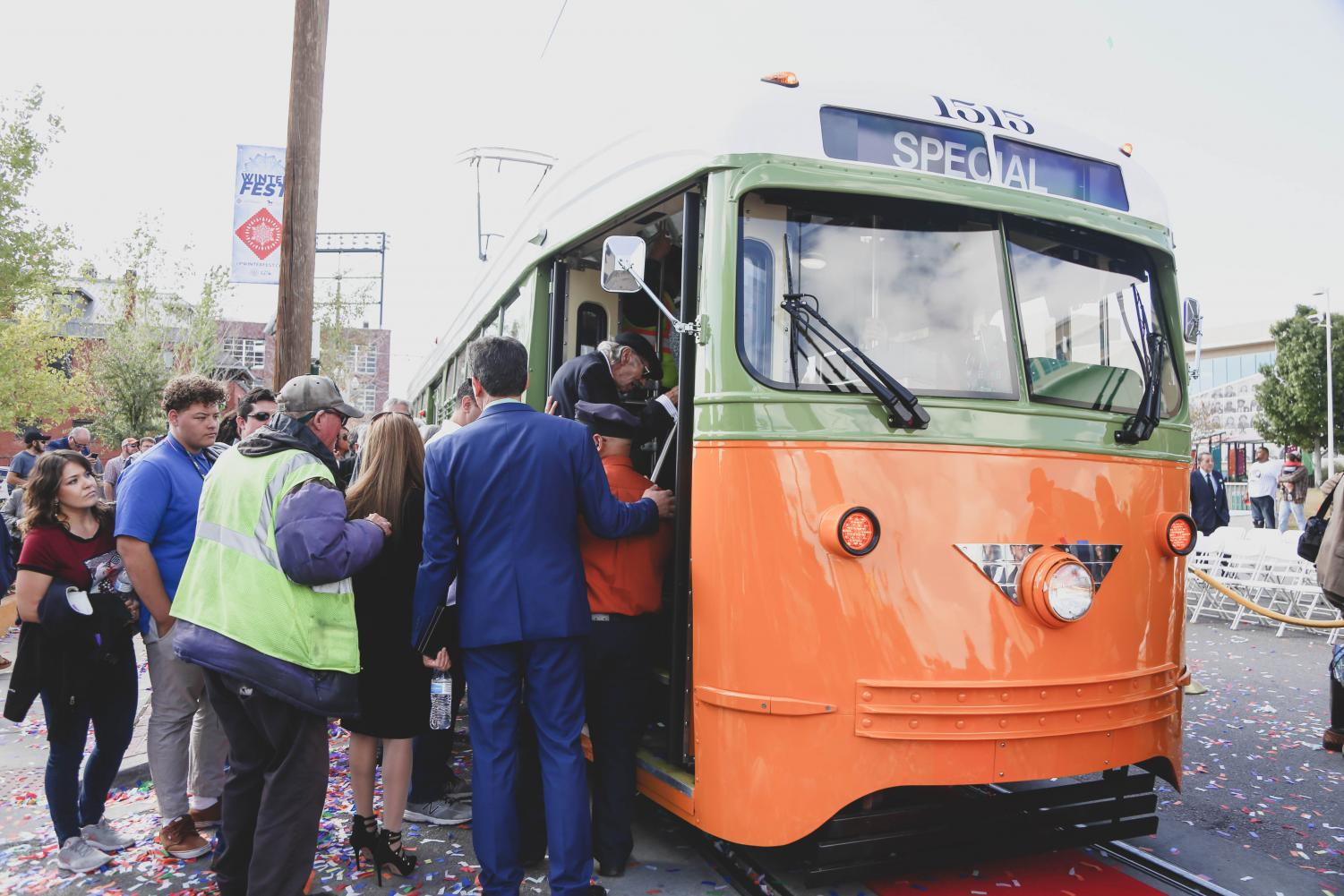 The+special+guests+had+the+opportunity+to+ride+the+streetcar+after+the+inauguration.+