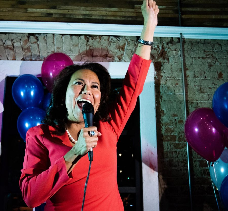 Veronica Escobar celebrates her election to the House of Representatives with her supporters at Later, Later in Downtown El Paso.