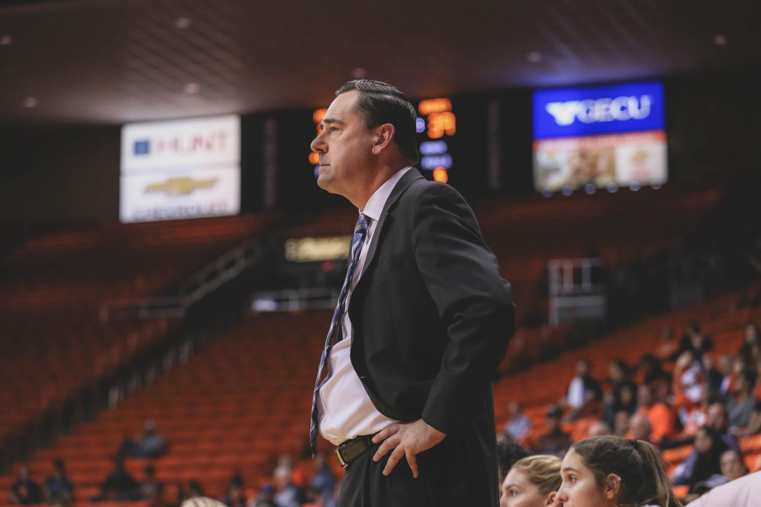 Head+Coach+Kevin+Baker+displayed+his+frustration+as+the+Miners+lost+to+NMSU+in+the+Battle+of+I-10.+