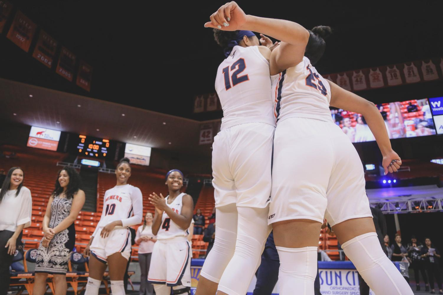 Junior+guard+Ariona+Gill+is+introduced+pre-game+at+a+game+against+the+NMSU+Aggies+on+Saturday%2C+Nov.+17.+