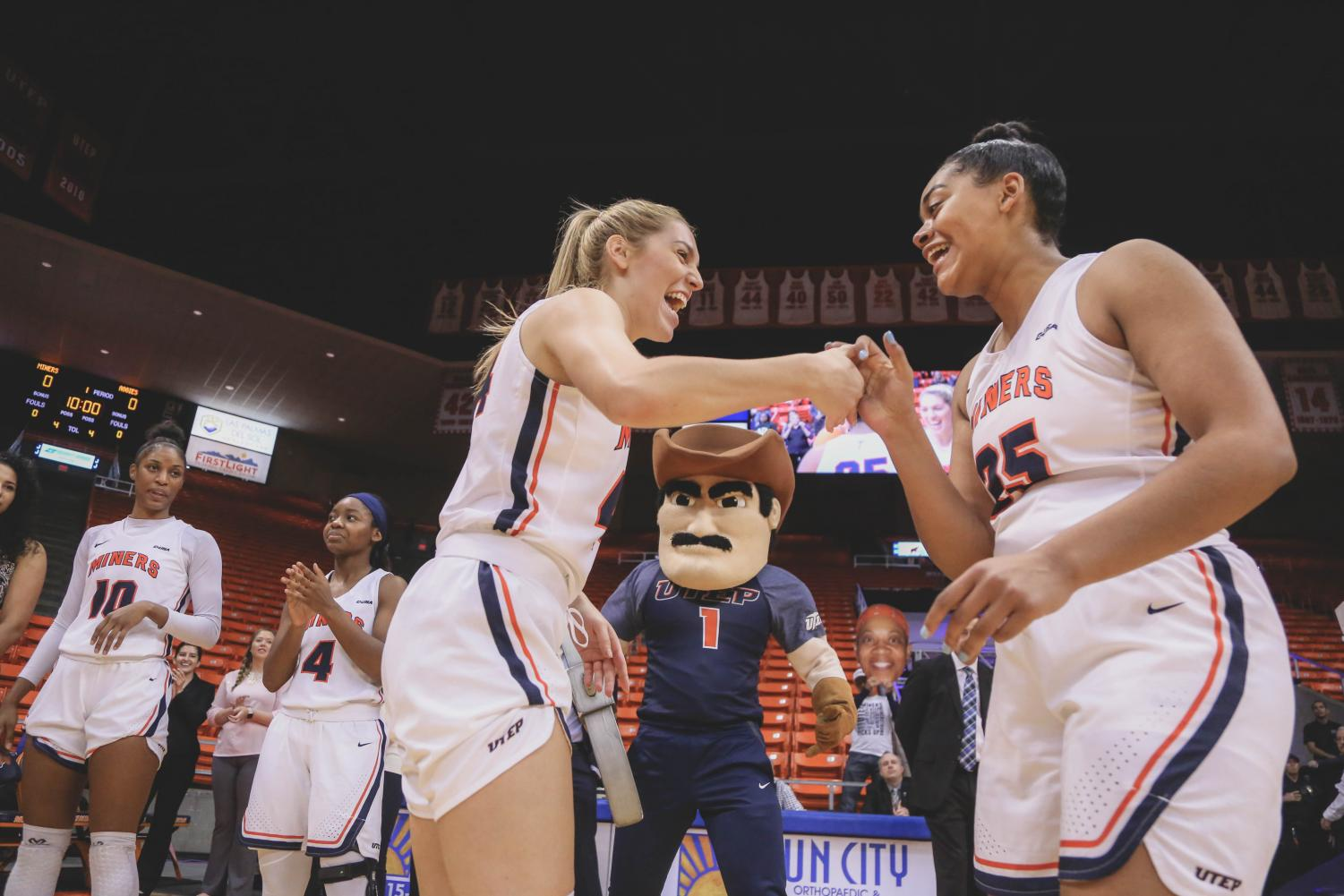 Junior+guard+Katarina+Zec+is+introduced+pre-game+at+a+game+against+the+NMSU+Aggies+on+Saturday%2C+Nov.+17.+