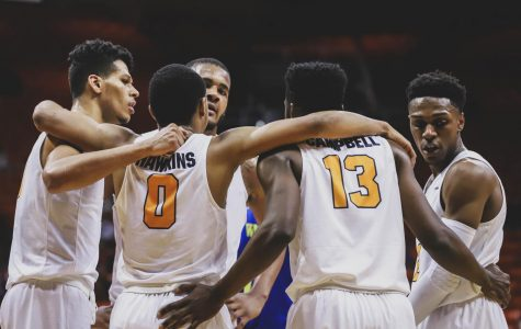 The Miners celebrate their win against the UC Riverside Highlanders at the Don Haskins Center on Saturday, Dec. 16.