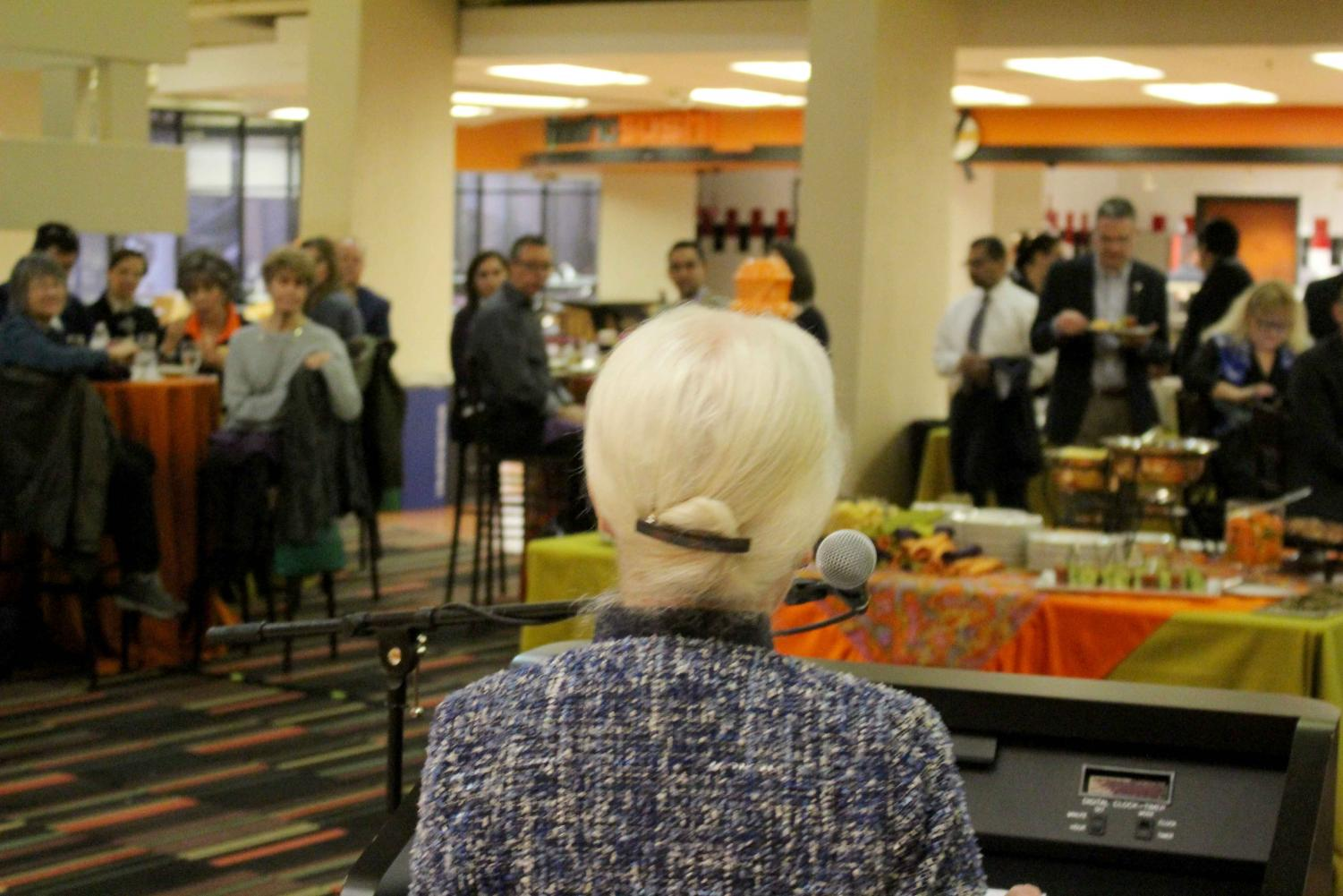 Monday, Feb. 18, Dr. Diana Natalicio and members of the UTEP faculty at the Union Lounge before the opening of the exhibit