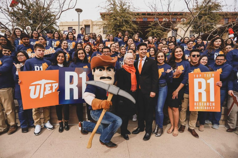 Miners celebrate UTEP's R1 status at Centennial Plaza