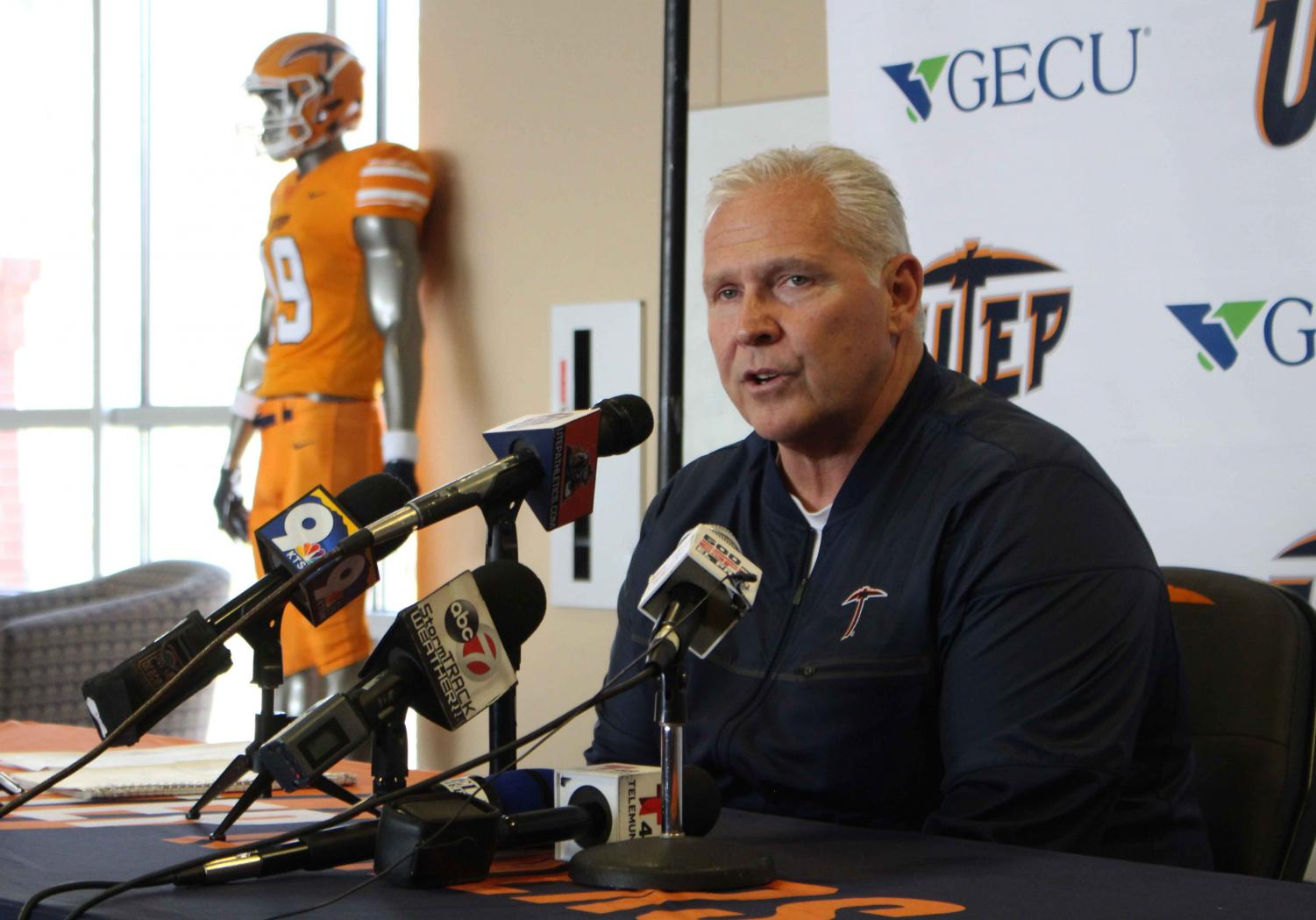 UTEP+football+Head+Coach+Dana+Dimel+addressed+the+media+after+announcing+his+2019+recruiting+class+Feb.+6%2C+at+the+Larry+K.+Durham+Sports+Center.+