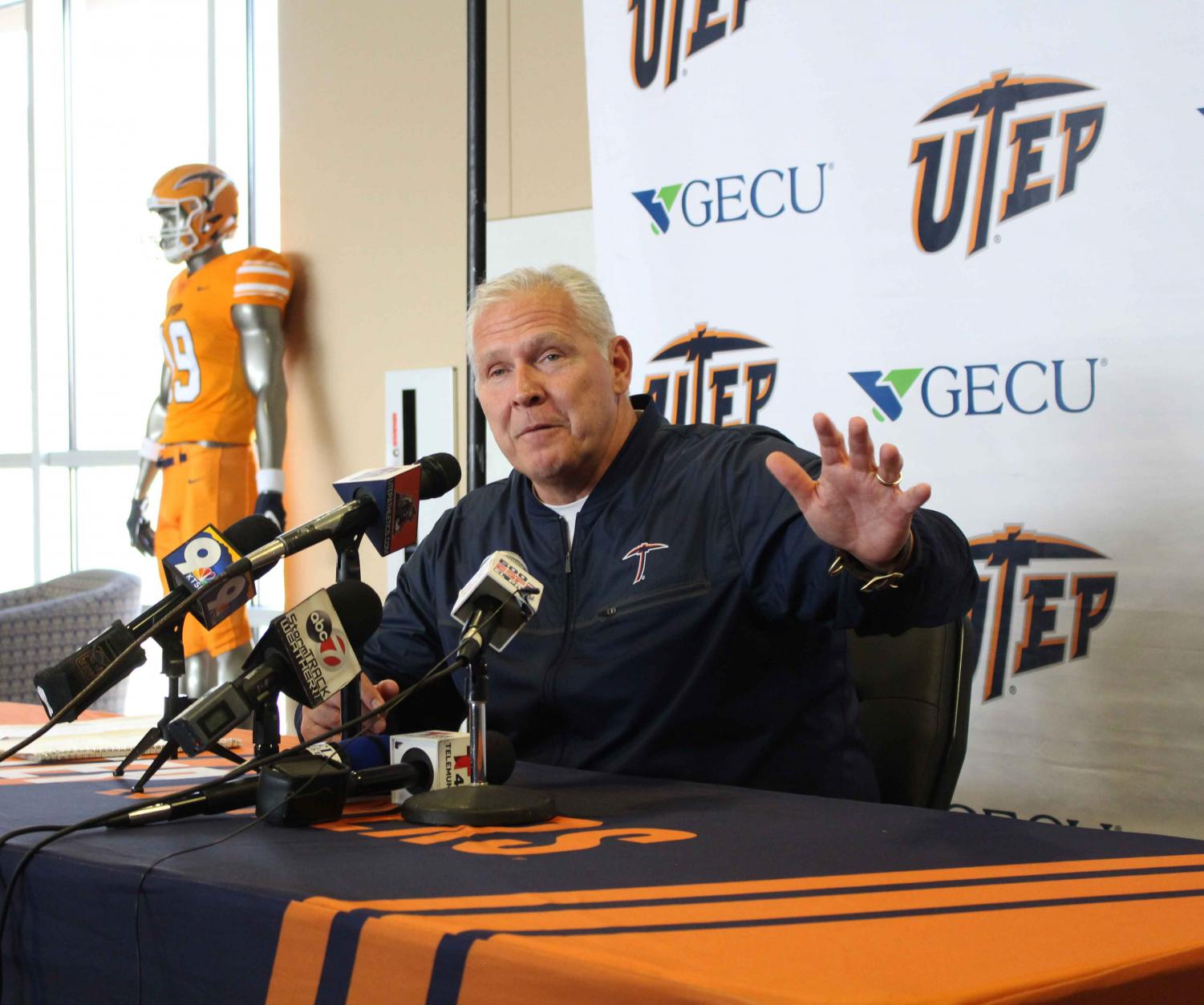 UTEP football Head Coach Dana Dimel addressed the media after announcing his 2019 recruiting class Feb. 6, at the Larry K. Durham Sports Center.