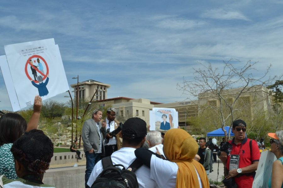 Students protest against UTEP president sole finalist, Heather Wilson March 27, at Centennial Plaza.