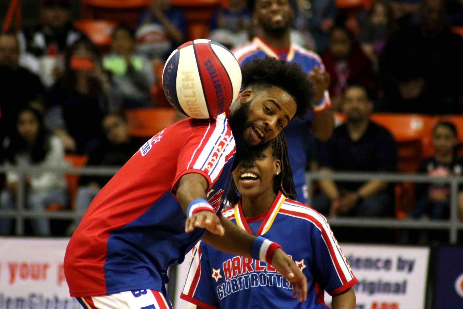 The Harlem Globetrotters perform their show at the Don Haskins Center in El Paso, TX, Sunday, March 10, 2019.