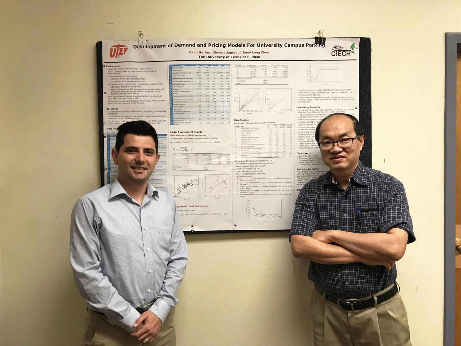Ph.D., civil engineering student, Okan Gurbuz and civil engineering professor Kelvin Cheu, Ph.D., are working in a research project to develop tools to assist parking offices for universities nationwide.