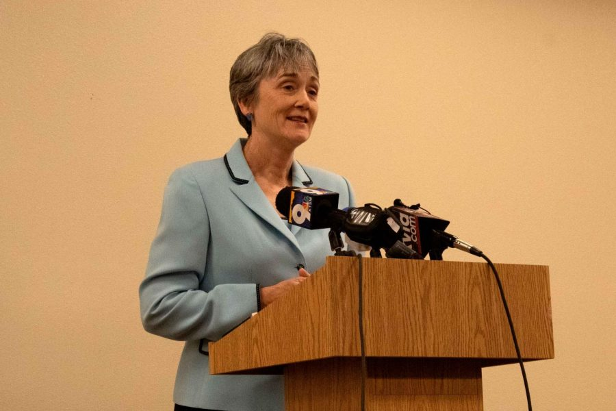 Dr. Heather Wilson, U.S. Secretary of the Air Force and sole finalist for UTEP presidency, visited the UTEP campus and addressed the media on Monday, March 11.