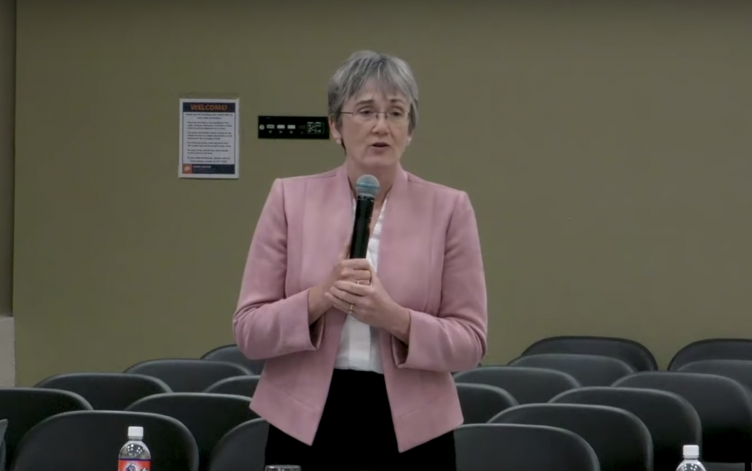 Dr. Heather Wilson addresses member of the Student Government Association Thursday, March 28. Photo Courtesy of UTEP YouTube page.