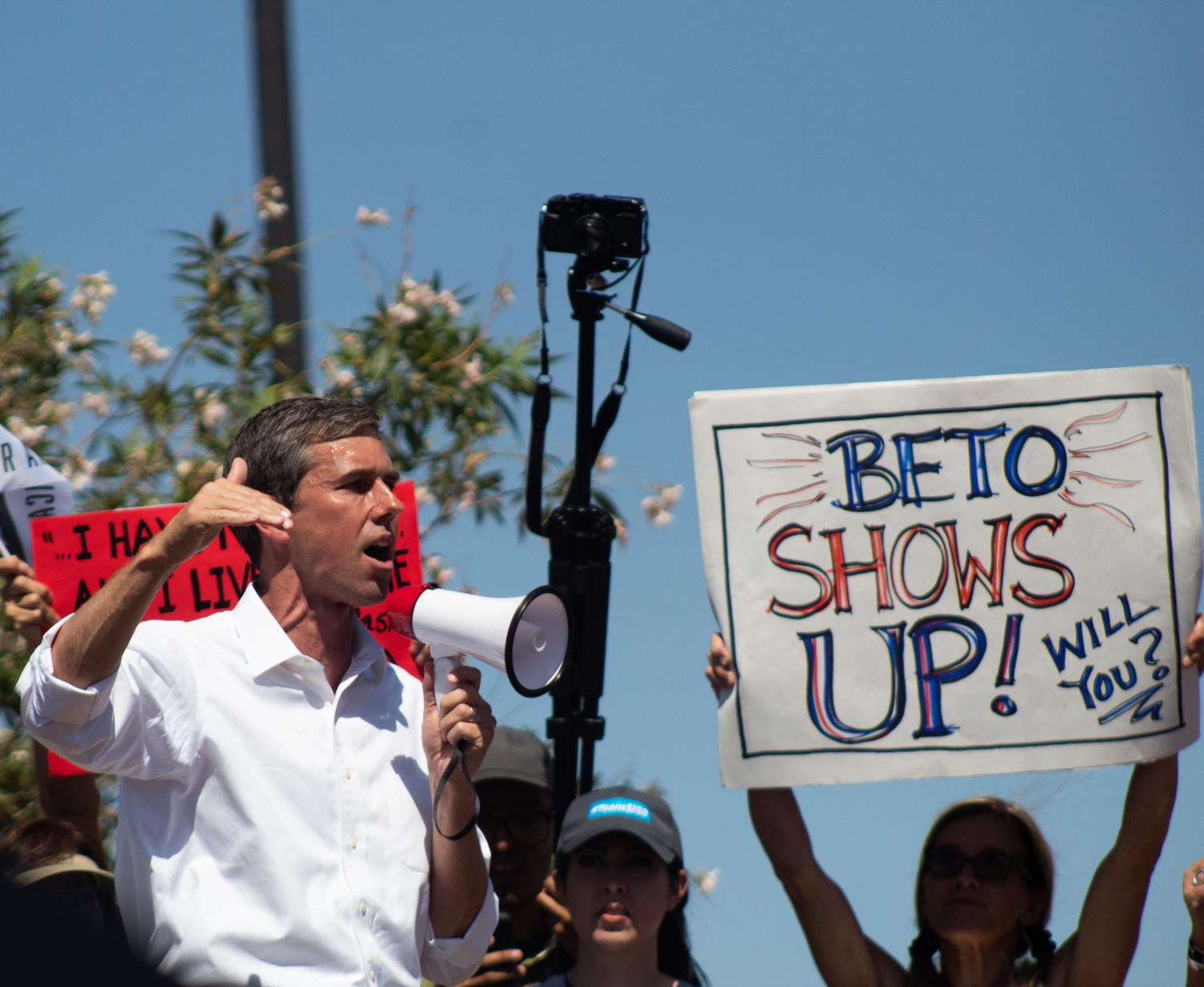 Democratic presidential candidate Beto O'Rourke advocates for immigrants at the Clint Border Patrol Station on Sunday June 30, 2019.