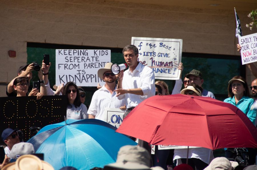 Democratic presidential candidate Beto ORourke speaks to a group of dozens of protesters at his Clint Border Patrol Station rally on Sunday June 30, 2019.