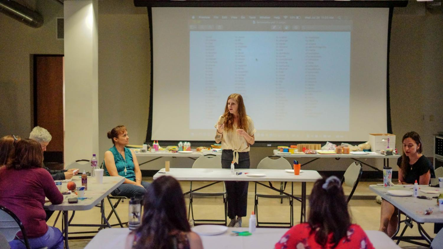Assistant Professor Jess Tolbert as the instructor of the Jewelry Making Workshop at the Stanlee & Gerald Rubin Center