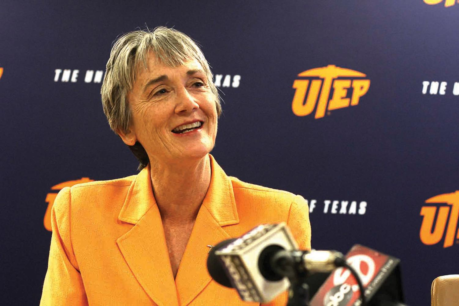 The 11th president in UTEP, Heather Wilson, at Monday's press conference.