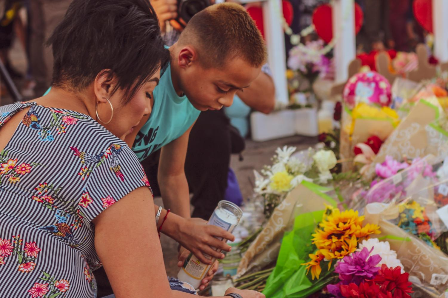 The community pay their respects for the victims at Cielo Vista Walmart, Monday August 6th.