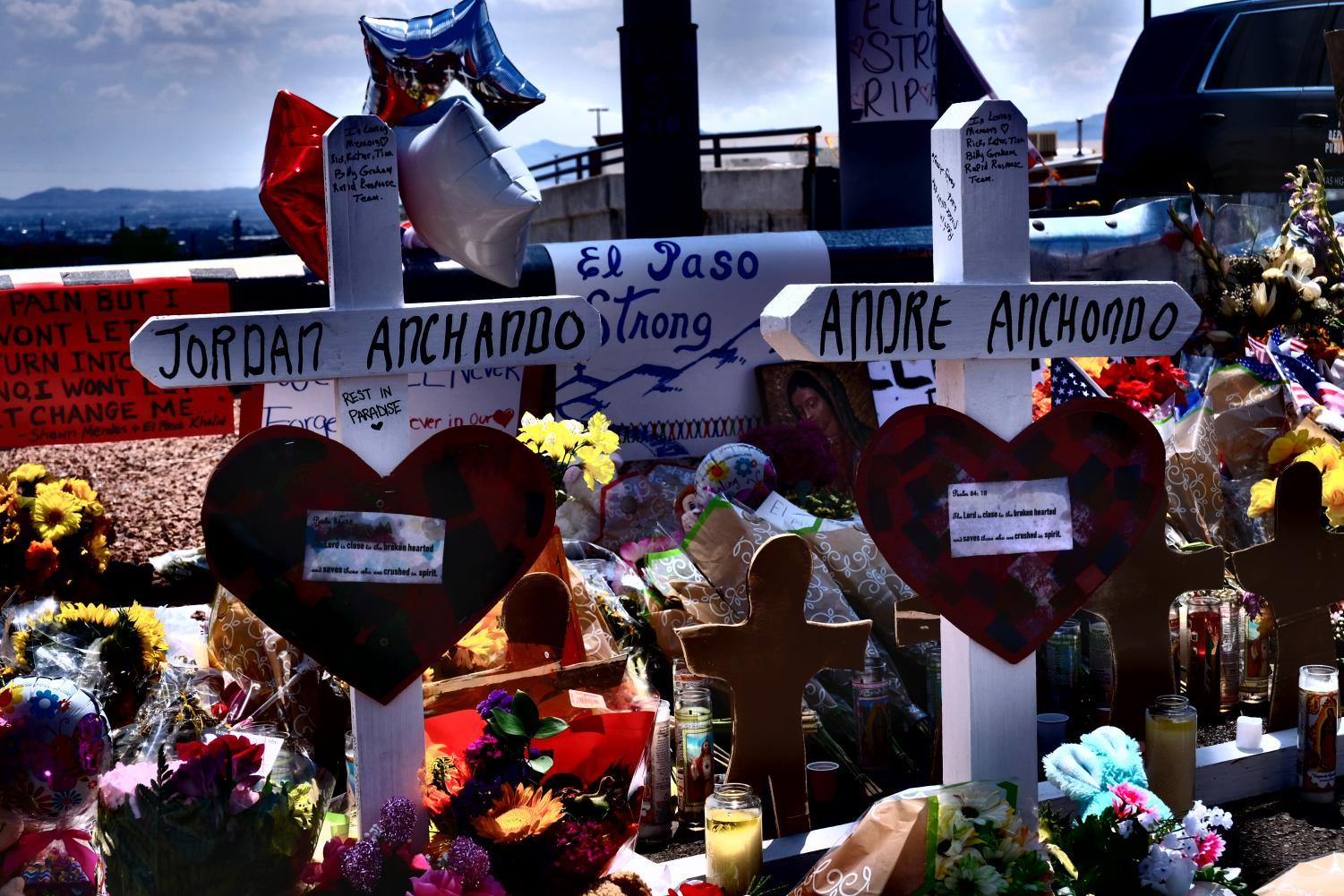 Memorials for the victims of Saturday's shooting have been created near the Cielo Vista Wal-Mart.