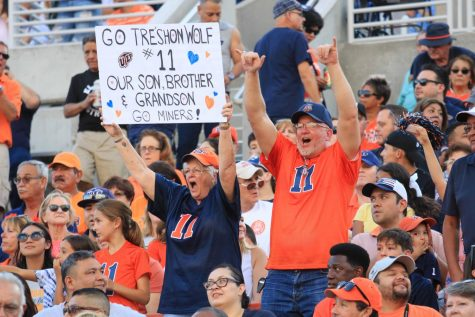 Miners fans cheer at the football game against Houston  Baptist Huskies. Aug. 31, 2019.