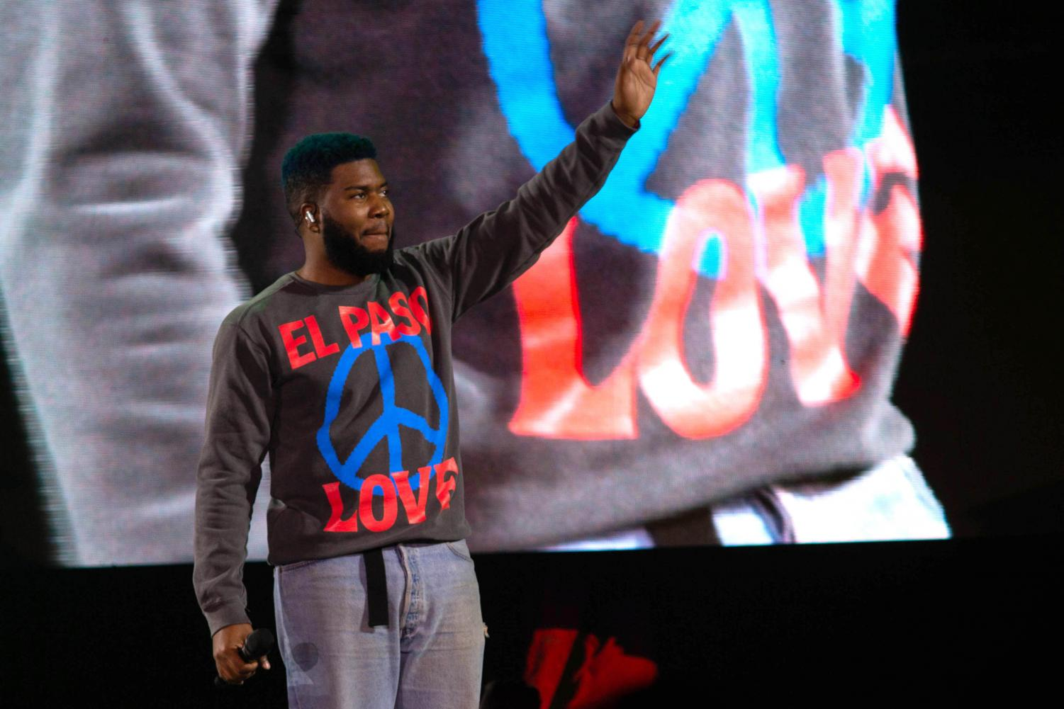 Khalid greets the crowd on his concert made to benefit El Paso shooting victims at the Don Haskins Center Sunday Sept. 1, 2019.