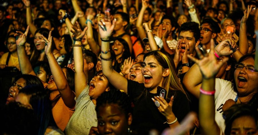 The audience excited for the performance of the Norwegian duo Lemaitre in 29th annual Minerpalooza at the Sunbowl parking lot, Aug. 30, 2019.