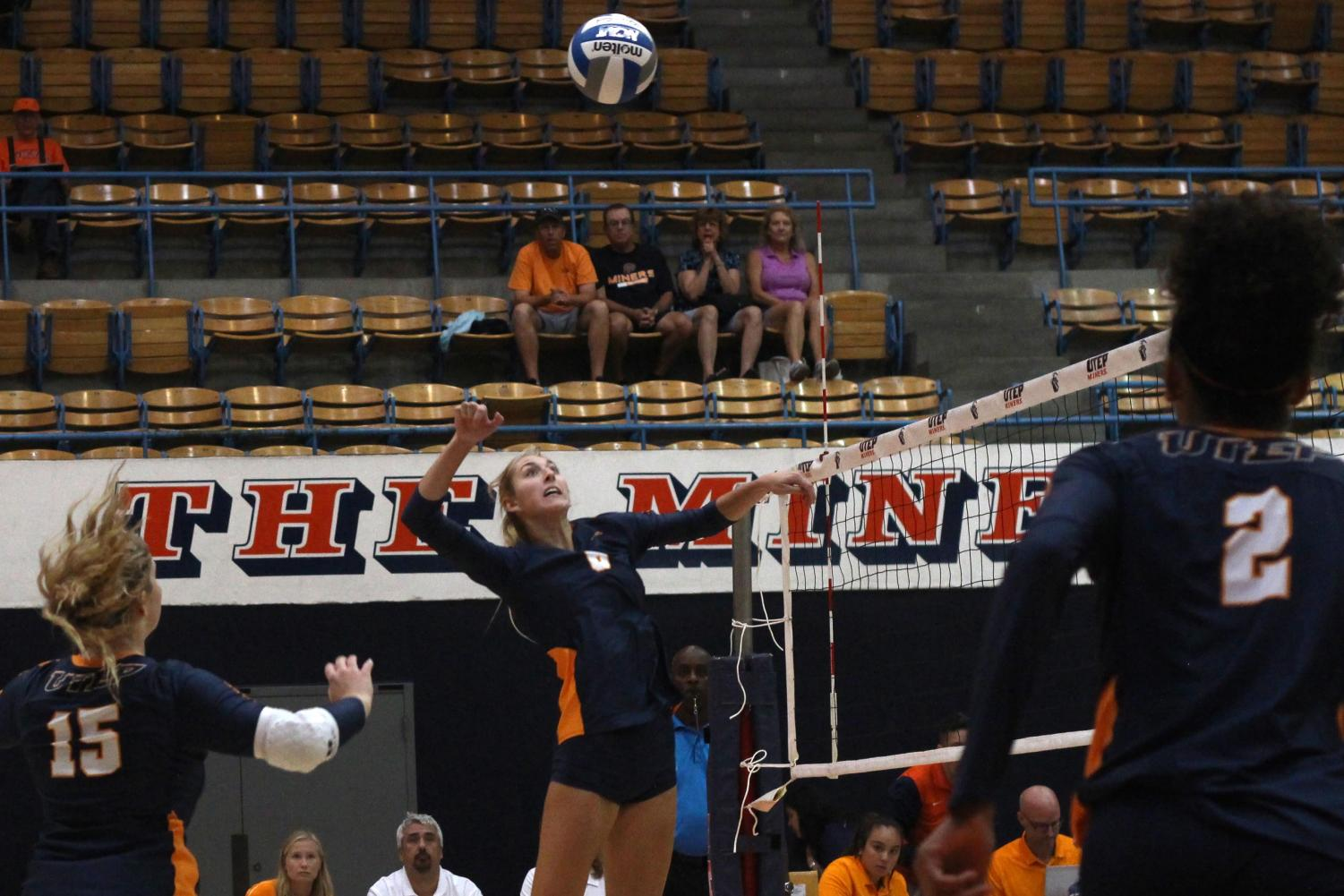 Middle blocker Mallory Yost scores against Coppin State Friday Sept. 6, 2019.