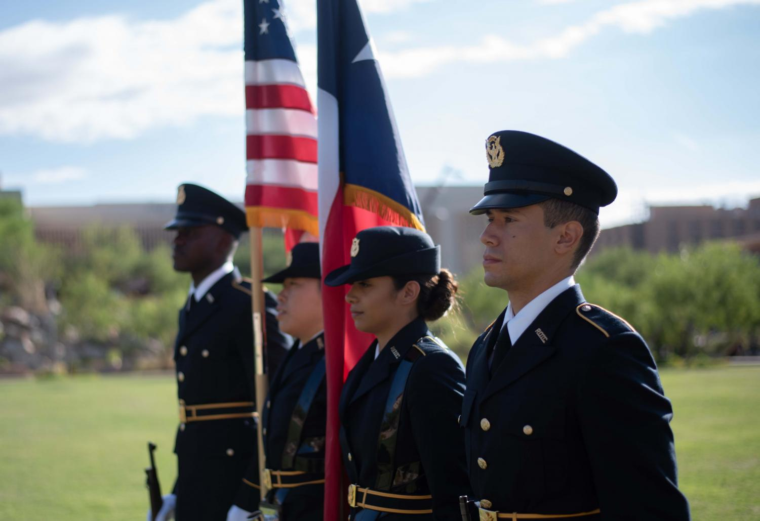 The UTEP ROTC Color guard gets ready to present the nations colors at the annual 9/11 commemoration ceremony in Centennial Plaza.