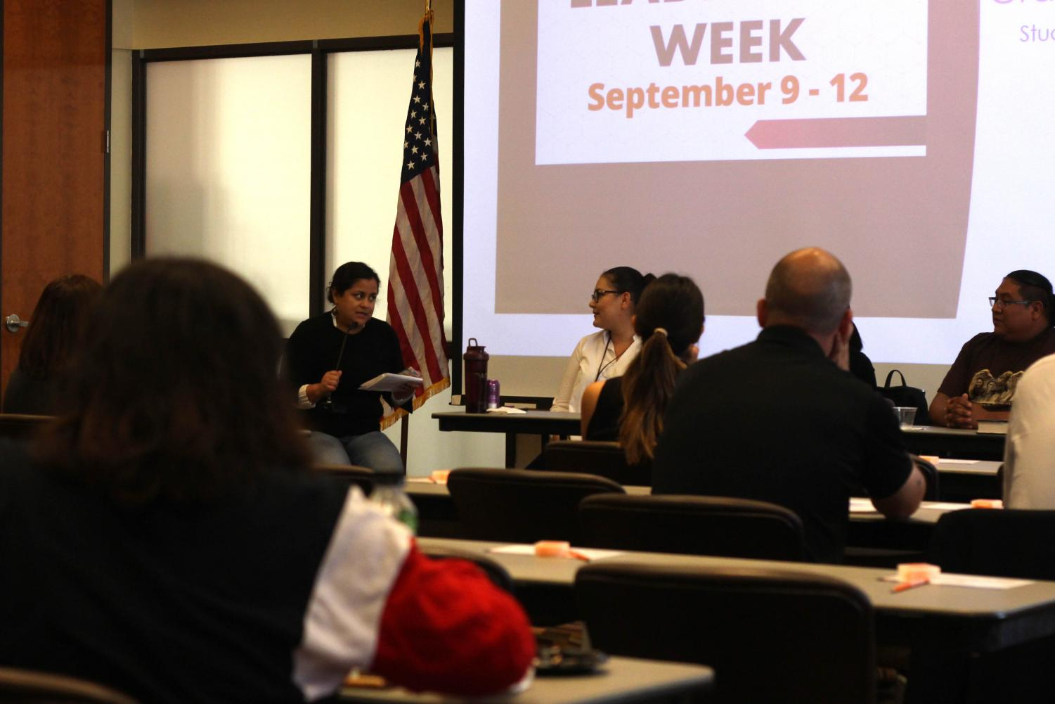 Graduate students listened to multiple speakers at the Graduate Leadership Panel at El Paso Gas Conference Center Tuesday Sept. 10, 2019.
