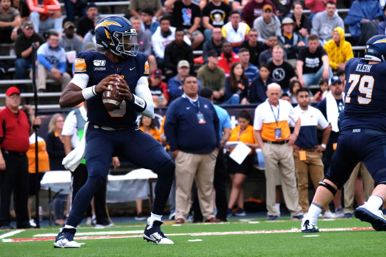 Senior quarterback Brandon Jones drops back in pocket as he looks downfield vs. Nevada.