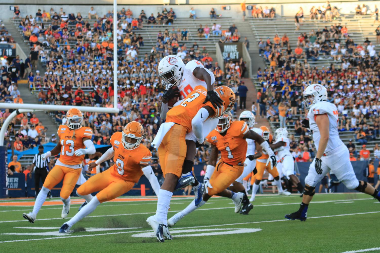 Senior saftey Michael Lewis makes a tackle during the Miners 36-34 win over Houston Baptist.