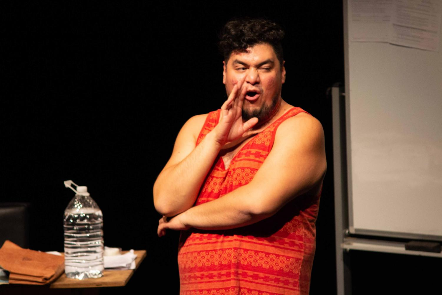 Jesús I. Valles performs his play (Un)Documents at the Wise Family Theater Friday, Oct. 25, 2019.