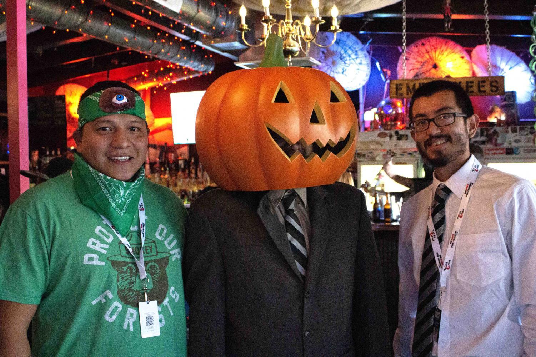 Oscar, Ernesto Armendariz and Mark Teran in costume for The Office Trivia Bar Crawl Saturday, Oct. 5, 2019.