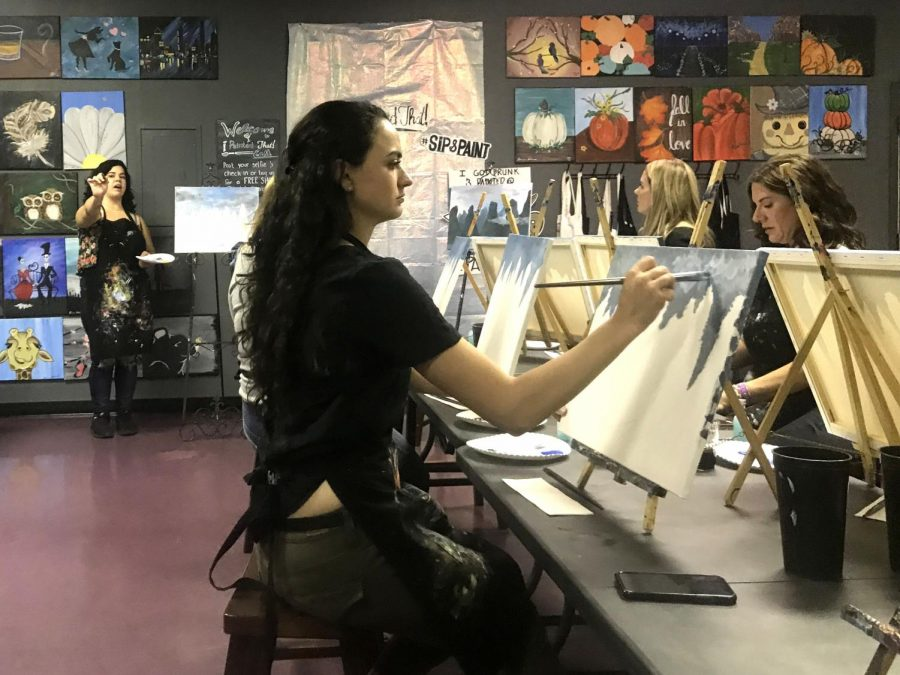 I+Painted+That%21+Artist%2C+Ebonie+Adame%2C+instructs+attendees+on+how+to+paint+Tom+Lea%E2%80%99s+%E2%80%9CThe+River+Li%E2%80%9D+painting+Thursday%2C+Oct.+10.+